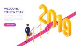 Onthaal 2019 Nieuw jaar Weg aan Nieuwjaar Onderneemster met aktentas het in hand lopen op rood tapijt aan het Nieuwjaar van 2019 vector illustratie