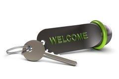 Onthaal in onze hotel, sleutel en sleutelring Royalty-vrije Stock Afbeelding