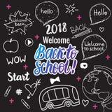 Onthaal terug naar school 2018 banner De vectorhand trekt vastgestelde elementen op zwart schoolbord stock illustratie