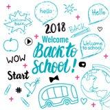 Onthaal terug naar school 2018 banner De vectorhand trekt vastgestelde geïsoleerde elementen op witte achtergrond vector illustratie