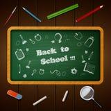Onthaal terug naar schoolachtergrond met krabbel in bord Stock Afbeelding