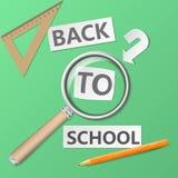 Onthaal terug naar schoolmalplaatje met bureaulevering op groene achtergrond, illustratie royalty-vrije illustratie