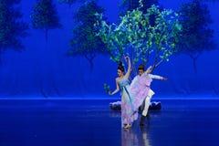 Ontmoet in de moerbeiboom de tuin-eerste handeling: de van de het drama` Zijde van de moerbeiboom tuin-epische dans Prinses ` stock foto's