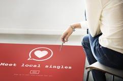 Ontmoet Lokaal uitkiest het Dateren van Valentine Romance Heart Love Passion C Stock Foto