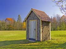 Ontonagon Outhouse. Autumn view of an outhouse in Ontonagon, County, Michigan Stock Photo