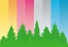 Сontour of green trees . Royalty Free Stock Image