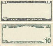 Ontruim het patroon van het 10 dollarbankbiljet stock foto's