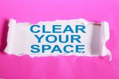 Ontruim Uw Ruimte, Motievenconcept van Woordencitaten stock afbeeldingen