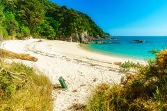 Ontruimend op een strand, abel tasman nationaal park, Nieuw Zeeland 1 royalty-vrije stock fotografie
