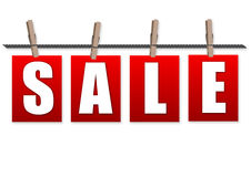 Ontruiming die van verkoop de rode markeringen met klem op kabel winkelen royalty-vrije illustratie