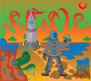 Ontscheping op Mars. Royalty-vrije Stock Foto's