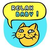 Ontspan Baby! Beeldverhaal Cat Head De Bel van de toespraak Vector illustratie Stock Foto's