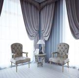 Ontspan gebied dichtbij venster Royalty-vrije Stock Foto