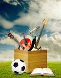 Ontspan na klaslokaal met muziek en sport Stock Afbeeldingen