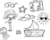 Ontspan op het strand, krabbel royalty-vrije illustratie