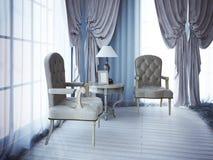 Ontspan plaats dichtbij venster in slaapkamer Royalty-vrije Stock Fotografie
