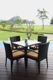 Ontspan stoelen op een dek Royalty-vrije Stock Afbeeldingen