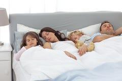Ontspannen familie die een dutje samen doet Stock Foto