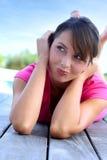 Ontspannen vrouw Stock Foto's