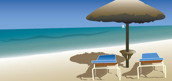 Ontspanning bij het strand, de zomervakantie Stock Illustratie