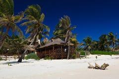 Ontspanning op het strand van Caribe, Mexico Royalty-vrije Stock Foto's