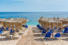 Ontspanningstijd bij mooi Megaammos-strand, Syvota, Griekenland Royalty-vrije Stock Foto