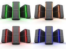 Ontvangende servers in 4 verschillende kleuren stock illustratie