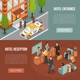 Ontvangst 2 van de hotelingang Isometrische Banners stock illustratie