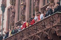 Ontvangst van Duitse eintracht Frankfurt op het balkon van roemer, Frankfurt-am-Main, Duitsland van de kopwinnaar 2018 Royalty-vrije Stock Afbeeldingen