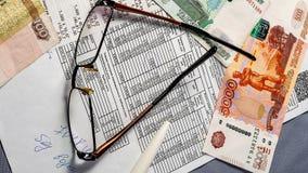 Ontvangstbewijs en geld, nut stock foto's