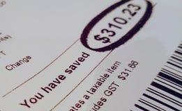Ontvangstbewijs - u hebt geld bespaard royalty-vrije stock foto's
