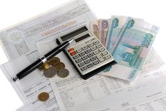 Ontvangstbewijzen, calculator, geld Royalty-vrije Stock Afbeeldingen