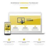 Ontvankelijke van webdesignlaptop en smartphone spot omhoog Stock Afbeelding