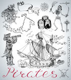 Ontwerp dat met piraten, schip, skelet en uitstekende overzeese symbolen wordt geplaatst Royalty-vrije Stock Foto