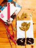 Ontwerp, de Herfst het vallen van bladeren, verbeelding, hobby stock foto