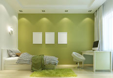 De slaapkamer van jonge geitjes met bureau en groene muren royalty vrije stock afbeelding - Eigentijdse stijl slaapkamer ...