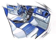 Ontwerp die het binnenland van een sportwagencoupé schetsen Illustratie Royalty-vrije Stock Afbeeldingen