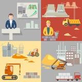 Ontwerp en bouw van gebouwen, geplaatste bouwpictogrammen royalty-vrije illustratie