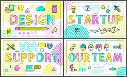 Ontwerp en Ons Team Collection Vector Illustration stock illustratie