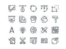Ontwerp en ontwikkeling Reeks overzichts vectorpictogrammen Omvat zoals Brainstorming, het Retoucheren, Programmering en andere vector illustratie