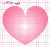 Ontwerp I van het nota houdt vierkant net van u voor Valentine voor drukontwerp op de Dag van themavalentine ` s met groot hart V Stock Foto