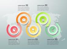 Ontwerp infographic malplaatje 5 opties Stock Foto