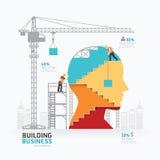 Ontwerp Infographic van het bedrijfs het hoofdvormmalplaatje de bouw aan succ Stock Afbeelding
