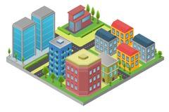 Ontwerp in isometry van stadselement met weg en de moderne die bouw in district op witte achtergrond wordt geïsoleerd vector illustratie