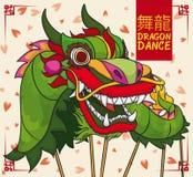 Ontwerp met Chinees Groen Dragon Performing Dance in Nieuwjaar, Vectorillustratie Royalty-vrije Stock Fotografie