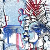 Ontwerp met het beeldhouwwerk, de kolom en de bloemen van Venus de Milo royalty-vrije illustratie