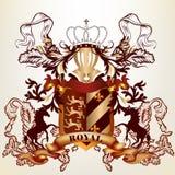 Ontwerp met koninklijk heraldisch element van linten, kroon en shiel Stock Foto