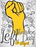 Ontwerp met Krabbels rond een Vuist om linker-Handersdag, Vectorillustratie te vieren royalty-vrije illustratie