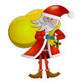 Ontwerp met Santa Claus met zak op rug stock illustratie