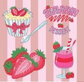 Ontwerp met smoothies, aardbei en muffin wordt geplaatst die Royalty-vrije Stock Afbeeldingen